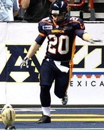 Brian Jackson with a kick off for the Spokane Shock in 2009.